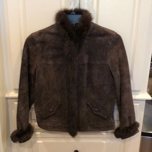 REVUE Leather (Suede) Jacket w/ rabbit fur trim